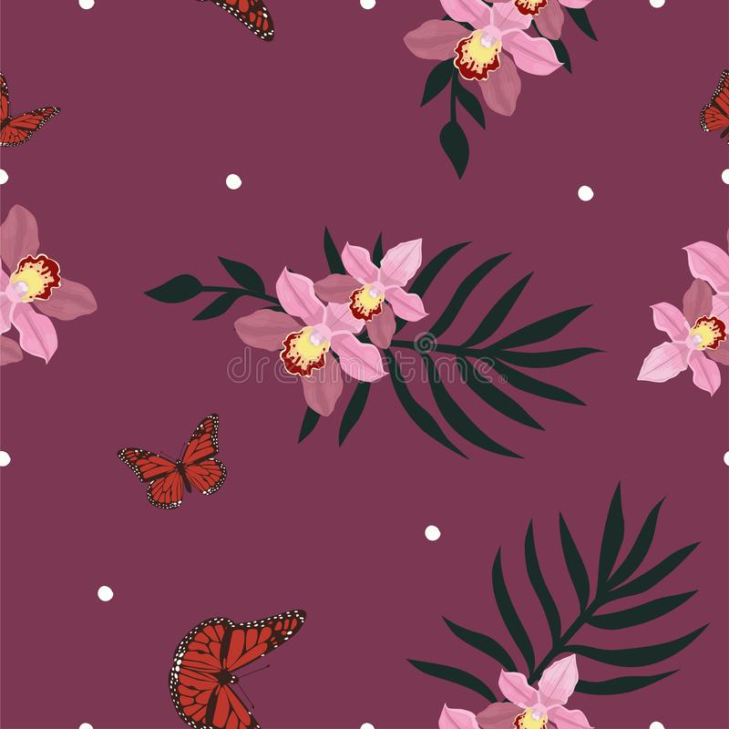 Tropical seamless pattern with orchids flowers. Tropic floral wallpaper isolated on white background royalty free illustration