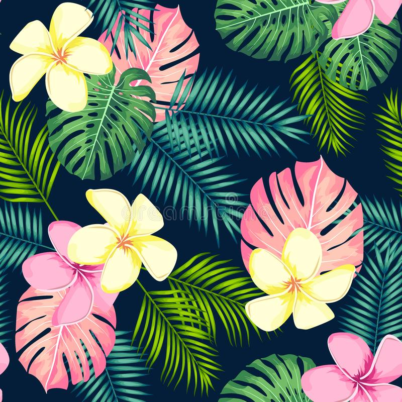 Tropical seamless pattern with palm leaves and flowers. Vector illustration vector illustration