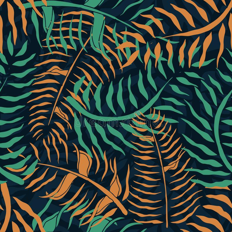Tropical seamless pattern with palm leaves. Summer floral pattern with green and orange palm foliage on dark background stock illustration