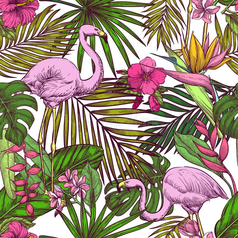Tropical seamless pattern. Pink flamingo, exotic flowers and palm leaves on white background. Vector sketch illustration stock illustration