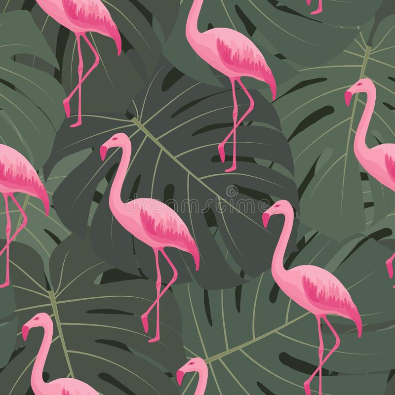 Exotic tropical seamless pattern with pink flamingos, green monstera leaves. vector illustration