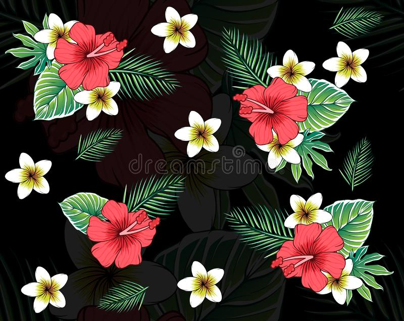 Tropical seamless pattern with plumeria flowers stock illustration