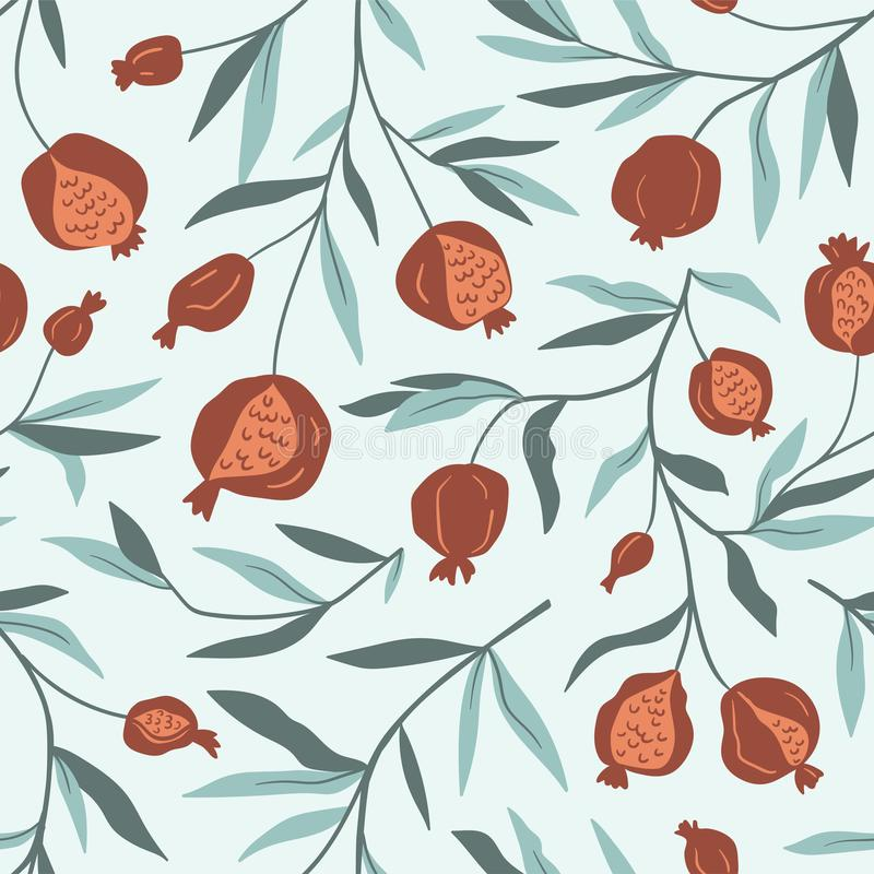 Tropical seamless pattern with pomegranate trees. Fruit background. Vector bright print for fabric or wallpaper. royalty free illustration