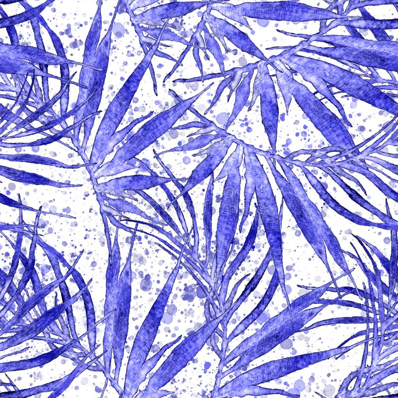 Tropical seamless pattern. Watercolor chaotic palm. Leaves, japanese bamboo. Blue exotic swimwear design. Summer tropic repeated print. Exquisite textile royalty free stock image