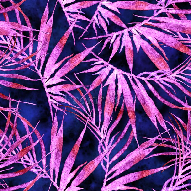 Tropical seamless pattern. Watercolor chaotic palm royalty free stock photography
