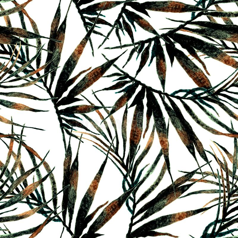 Tropical seamless pattern. Watercolor chaotic palm. Leaves, japanese bamboo. Green exotic swimwear design. Summer tropic repeated print. Noteworthy textile stock images