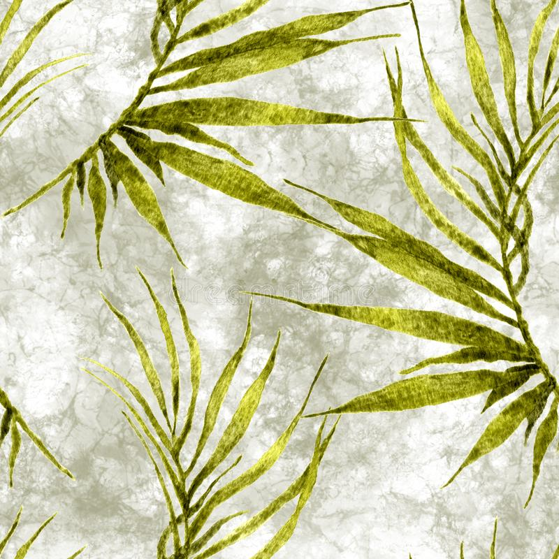 Tropical seamless pattern. Watercolor curved palm. Leaves, japanese bamboo. Green exotic swimwear design. Summer tropic repeated print. Incredible textile stock illustration