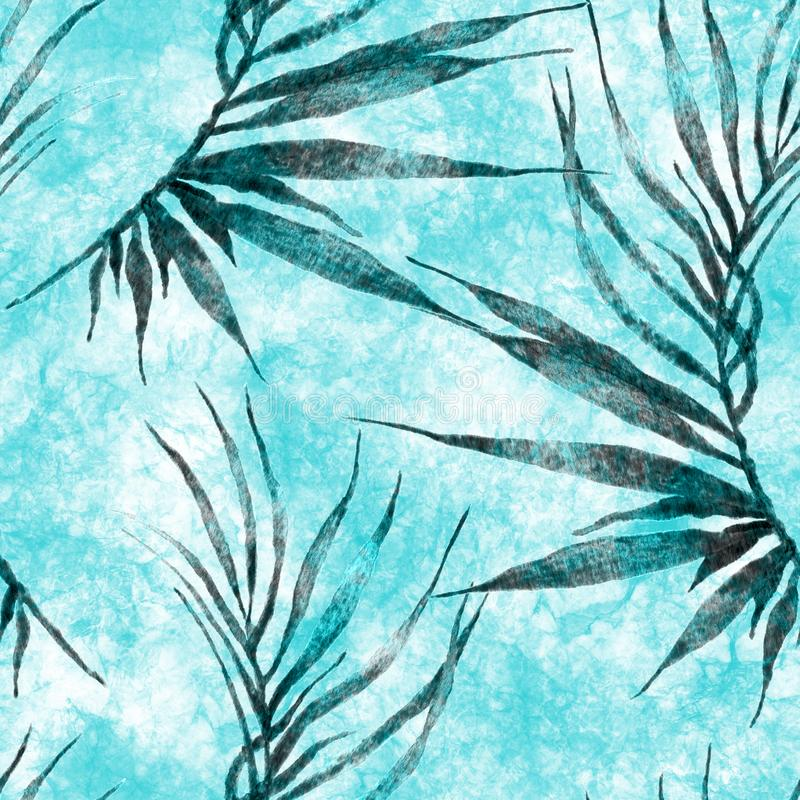Tropical seamless pattern. Watercolor curved palm. Leaves, japanese bamboo. Turquoise exotic swimwear design. Summer tropic repeated print. Charming textile stock illustration