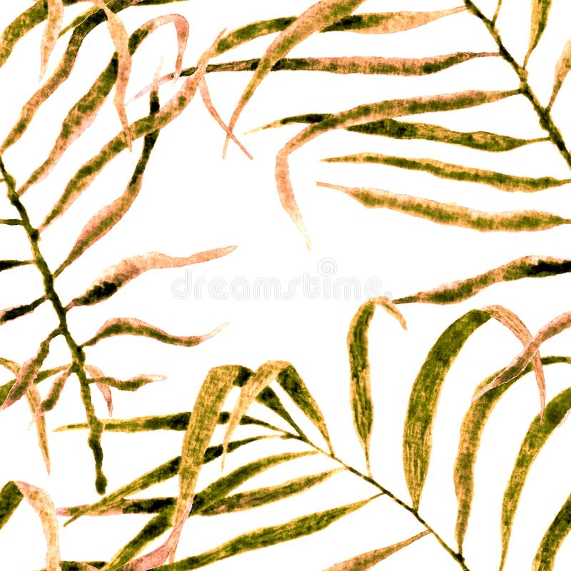 Tropical seamless pattern. Watercolor swaying palm. Leaves, japanese bamboo. Yellow exotic swimwear design. Summer tropic repeated print. Unequaled textile vector illustration