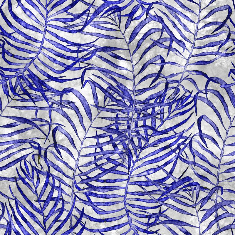 Tropical seamless pattern. Watercolor tangled palm. Leaves, japanese bamboo. Blue exotic swimwear design. Summer tropic repeated print. Decent textile vector illustration