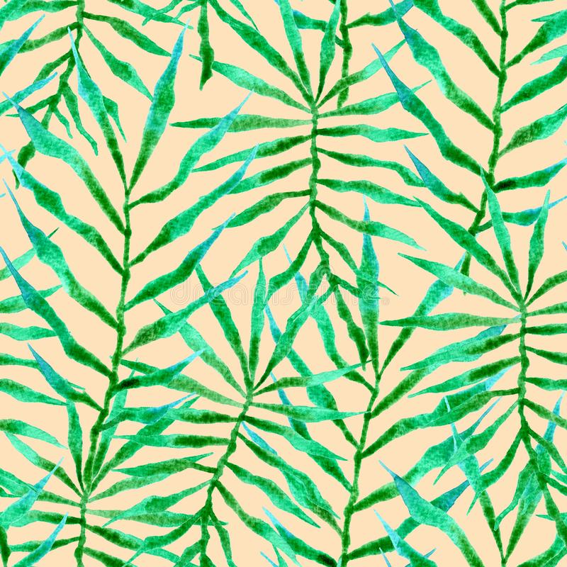 Tropical seamless pattern. Watercolor thorny palm vector illustration