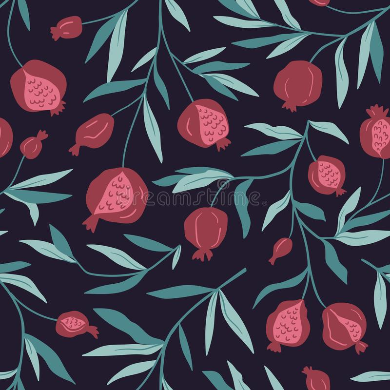 Free Tropical Seamless Pattern With Pomegranate Trees. Fruit Background. Vector Bright Print For Fabric Or Wallpaper. Royalty Free Stock Photos - 131593998