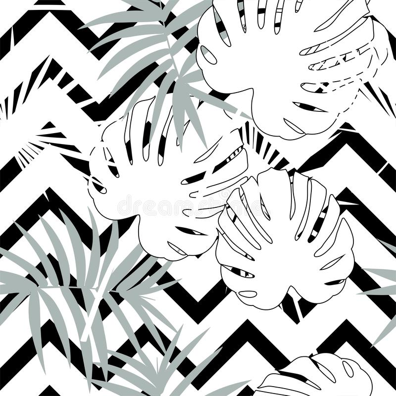 Tropical seamless vector floral pattern with palm leaves, jungle leaf. Tropic monochrome background, black and white royalty free illustration