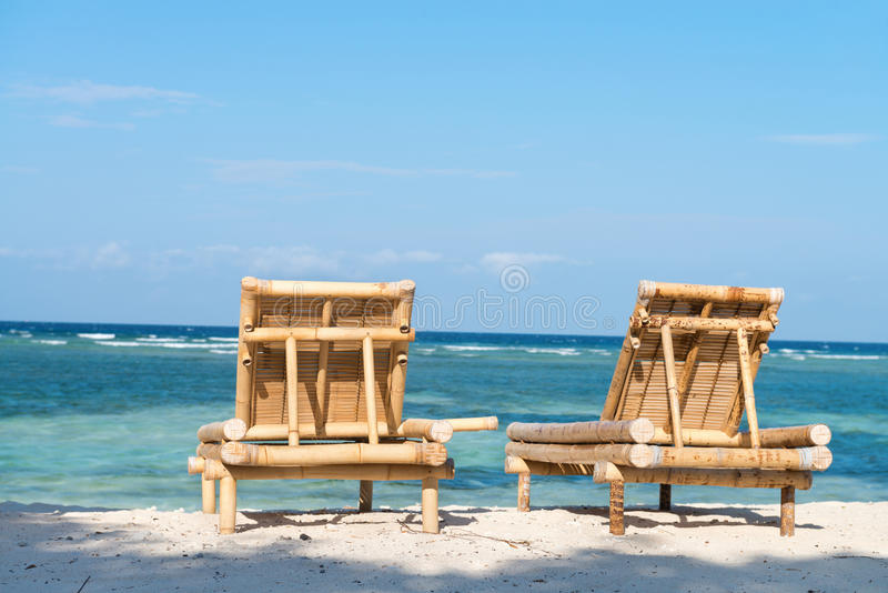 Download Tropical Seascape With Bamboo Beach Beds Stock Image - Image: 35289245