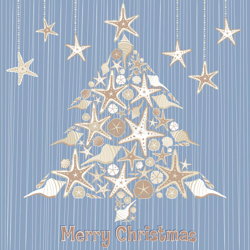 Tropical Seashell Christmas Tree Card stock illustration