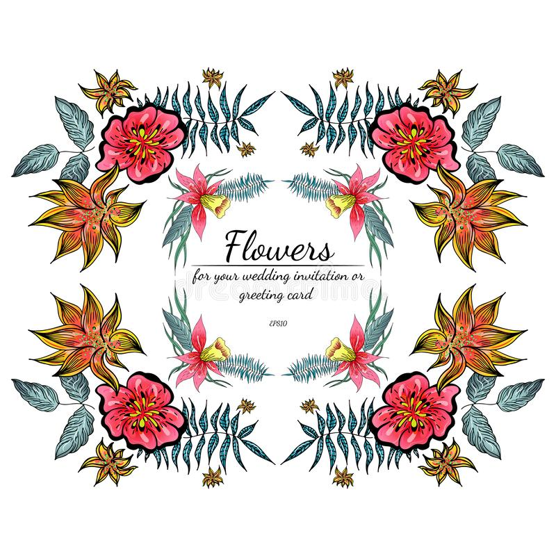 Tropical set of hand drawn orchid floral frames. Jungle foliage illustration. Floral set. Hand drawing. Vector collection,. Isolated. Natural spring wedding vector illustration