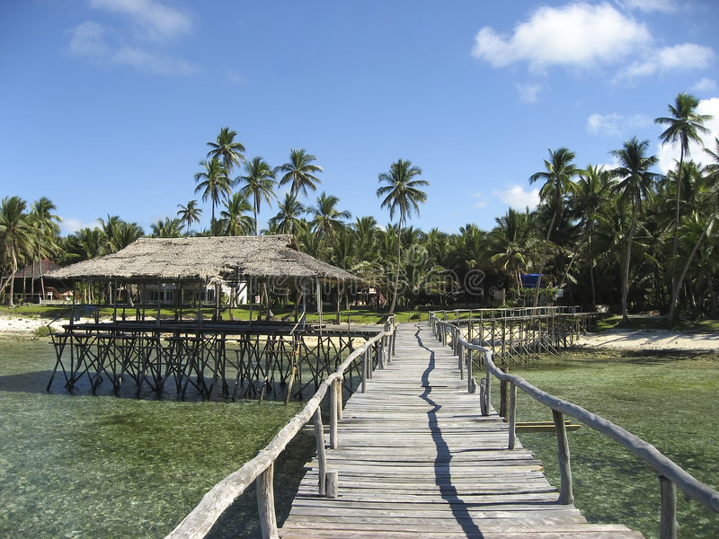 Tropical siargao island wooden promenade royalty free stock photography