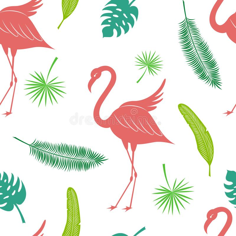 Tropical silhouette vector seamless pattern. Flamingo, coconut palm leaf, fan palm and banana leaf texture. royalty free illustration
