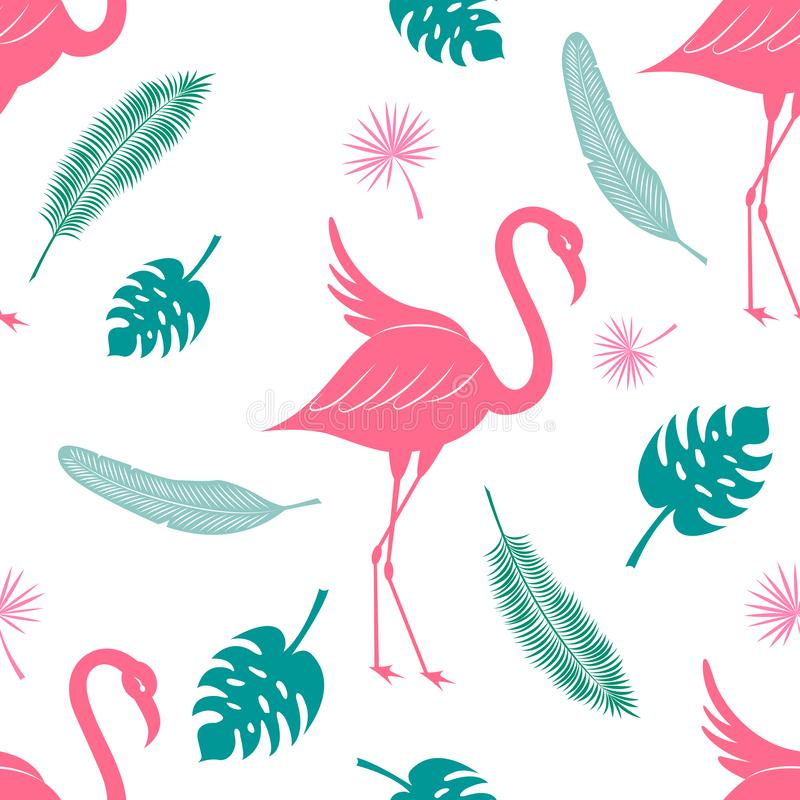 Tropical silhouette vector seamless pattern. Flamingo, coconut palm leaf, fan palm and banana leaf texture stock illustration