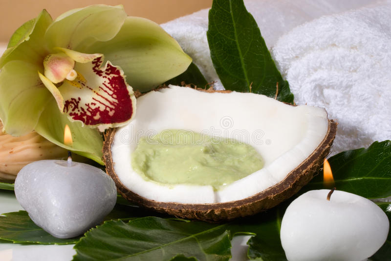 Tropical spa set. Avocado coconut scrub in coconut shell, orchid flower (Cymbidium sp.), tropical plant, soap and aroma candle. Suited for relaxing and health royalty free stock photo