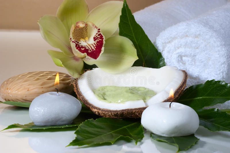 Tropical spa set. Avocado coconut scrub in coconut shell, orchid flower (Cymbidium sp.), tropical plant, soap and aroma candle. Suited for relaxing and health royalty free stock photos