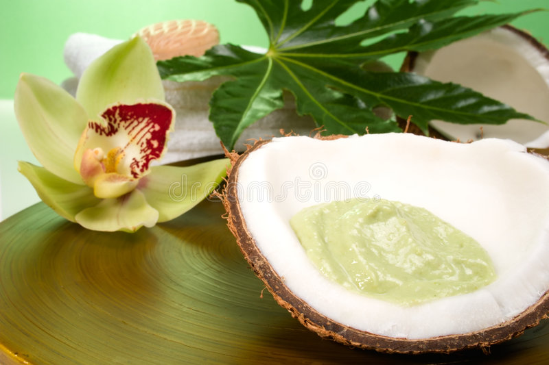 Tropical spa set. Avocado coconut scrub in coconut shell, orchid flower (Cymbidium sp.), tropical plant and soap. Suited for relaxing and health commercials stock image