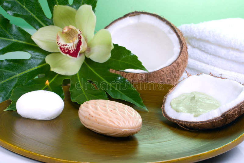 Tropical spa set. Avocado coconut scrub in coconut shell, orchid flower (Cymbidium sp.), tropical plant, soap and aroma candle. Suited for relaxing and health royalty free stock image