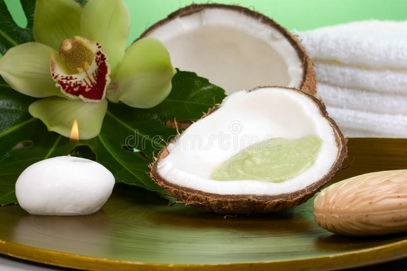 Tropical spa set. Avocado coconut scrub in coconut shell, orchid flower (Cymbidium sp.), tropical plant, soap and aroma candle. Suited for relaxing and health stock images