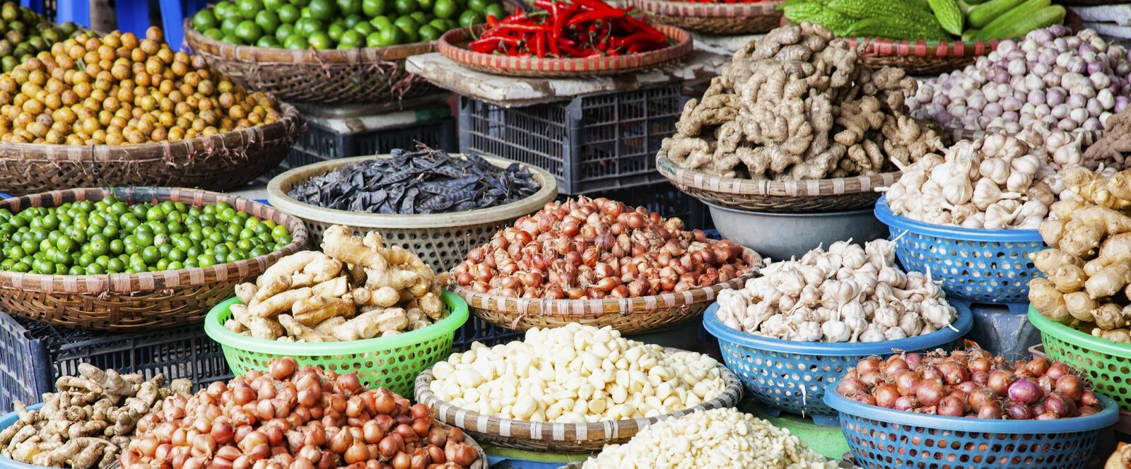 tropical spices and fruits sold at a local market in Hanoi & x28;Vietnam stock photos