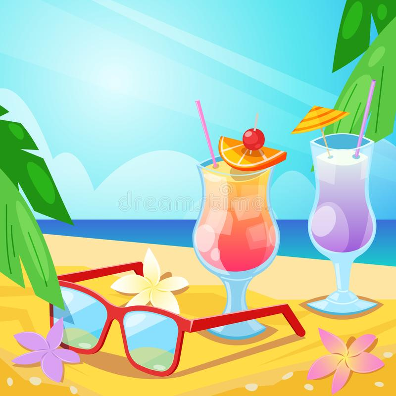 Tropical summer beach, alcohol beverages and red sunglasses on sand. Vector bar illustration. Iced tea and cosmopolitan cocktail stock illustration