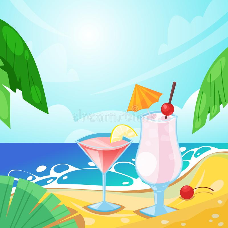 Tropical summer beach, alcohol beverages on sand. Vector bar illustration. Pina colada and cosmopolitan cocktails.  vector illustration
