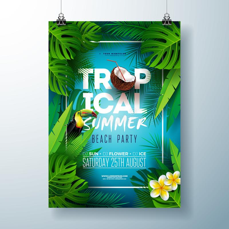 Free Tropical Summer Beach Party Flyer Design With Flower, Coconut, Palm Leaves And Toucan Bird On Blue Background. Vector Royalty Free Stock Photo - 151481085