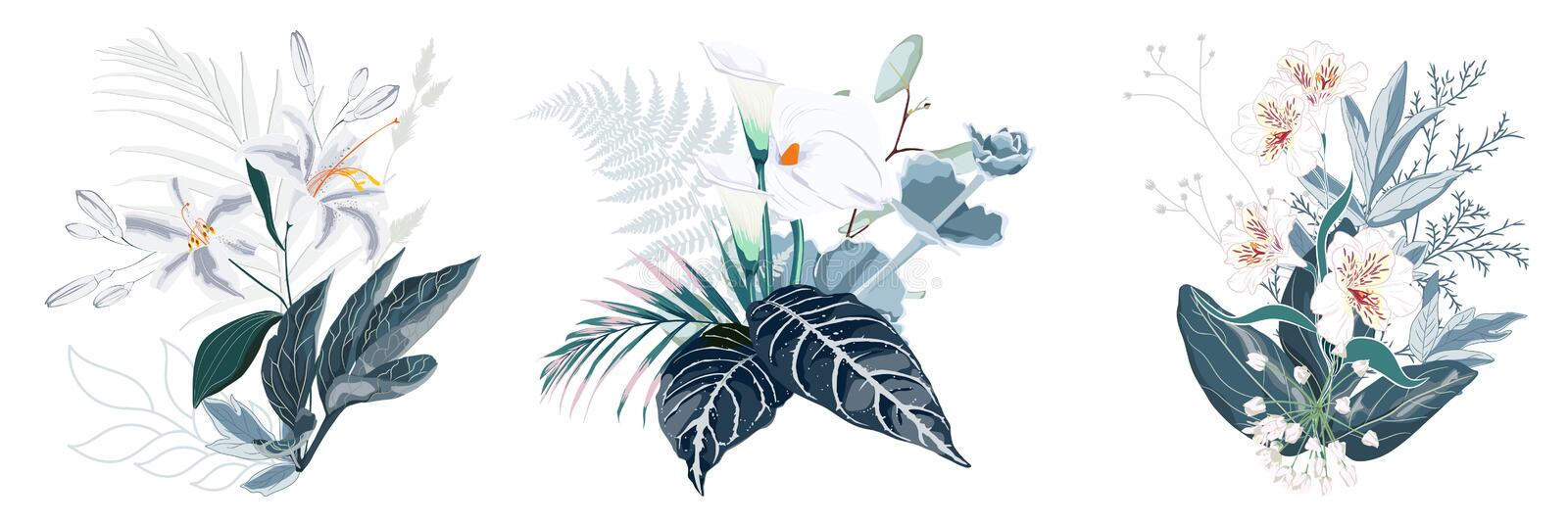 Tropical summer bouquet with palm leaves and exotic flowers. White flowers composition for wedding and other isolated on white background royalty free illustration