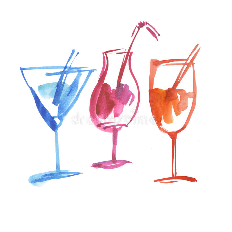 Tropical summer cocktail. Watercolor painting on white background excellent hand drawn illustration. shabby chick creative painted drinks vector illustration