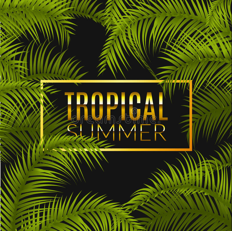 Free Tropical Summer Design Poster Template. Summer Vacation With Leafs. Jungle Paradise Stock Photo - 73773980