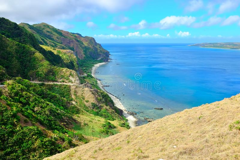 Tropical summer destination in the Philippines. Vibrant color tropical coastline at summer season in Sabtang Island, Batanes, Philippines stock photo