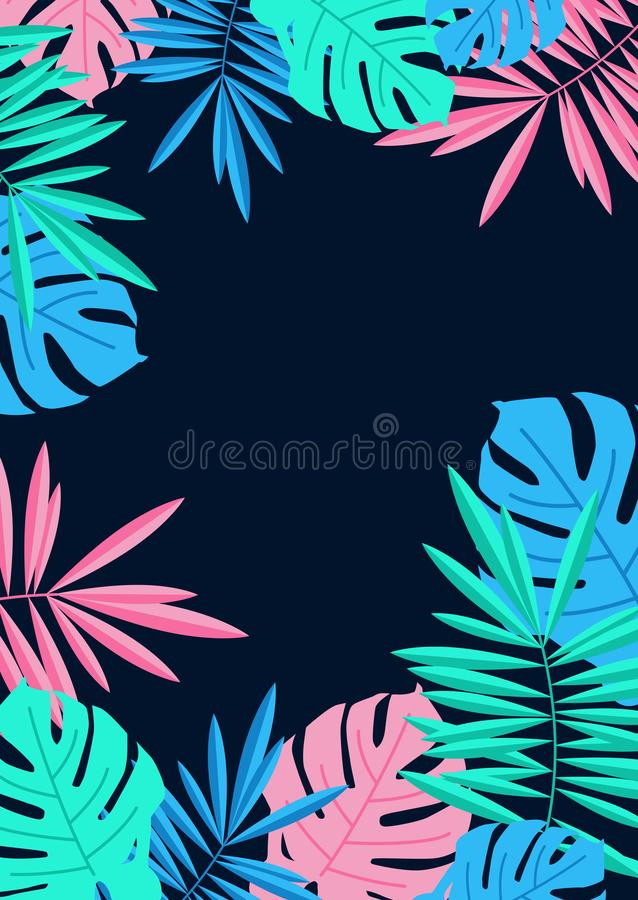 Tropical summer palm and monstera leaves border on night blue ba royalty free illustration