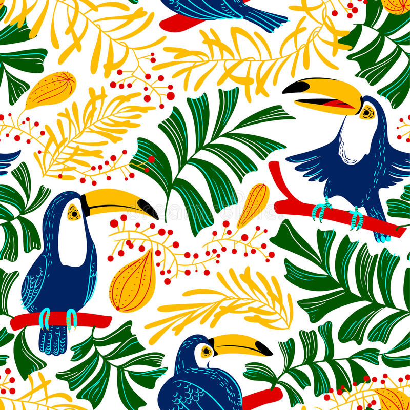 Tropical summer seamless pattern. Background with toucan birds a. Nd tropical plants and fruits. Colorful nature. Cartoon vector illustration for backdrop design stock illustration