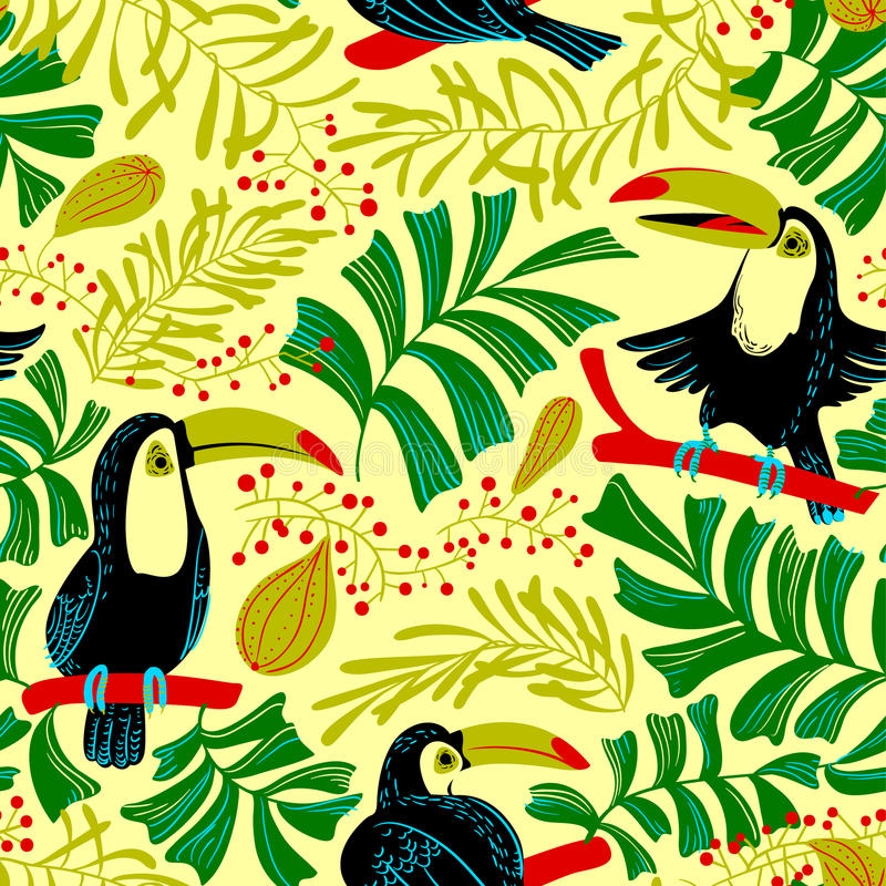 Tropical summer seamless pattern. Background with toucan birds a. Nd tropical plants and fruits. Colorful nature. Cartoon vector illustration for backdrop design royalty free illustration