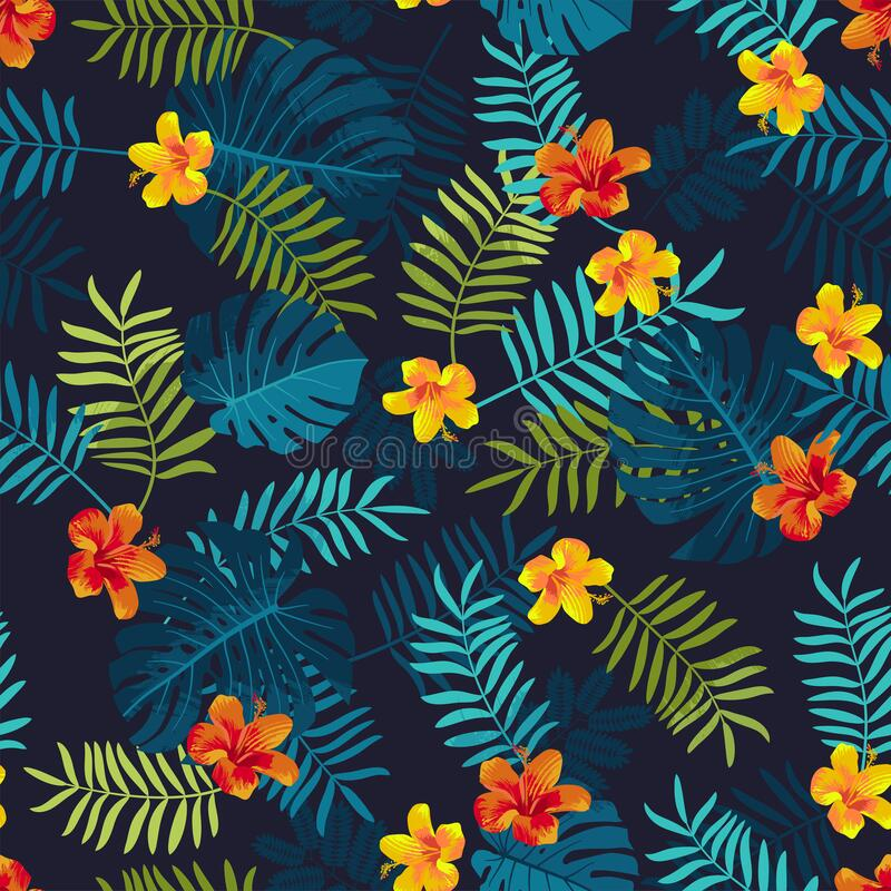 Free Tropical Summer Seamless Pattern With Monstera Leaves And Hibiscus Flowers. Bright Jungle Seamless Background. Vivid Optimistic Royalty Free Stock Photo - 215594735