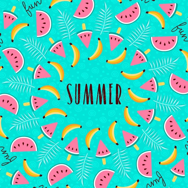 Download Tropical Summer Season Fruit Greeting Card Stock Illustration    Illustration Of Calligraphy, Modern: