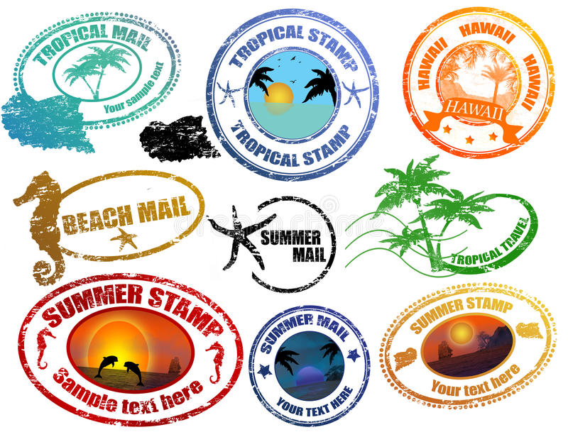Tropical summer stamps vector illustration