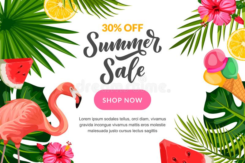 Tropical summer vector background. Sale banner, flyer or poster design template with hand drawn calligraphy lettering royalty free illustration