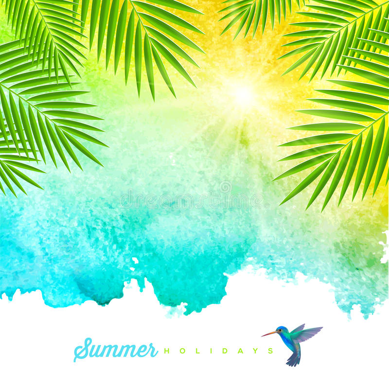 Tropical summer watercolor background vector illustration