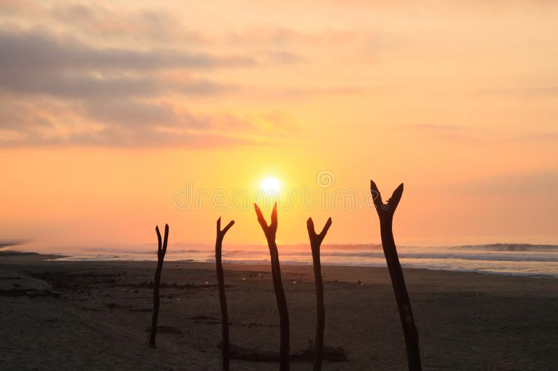 Tropical Sunrise over Fishing Net Drying Posts on Pacific Ocean royalty free stock photo