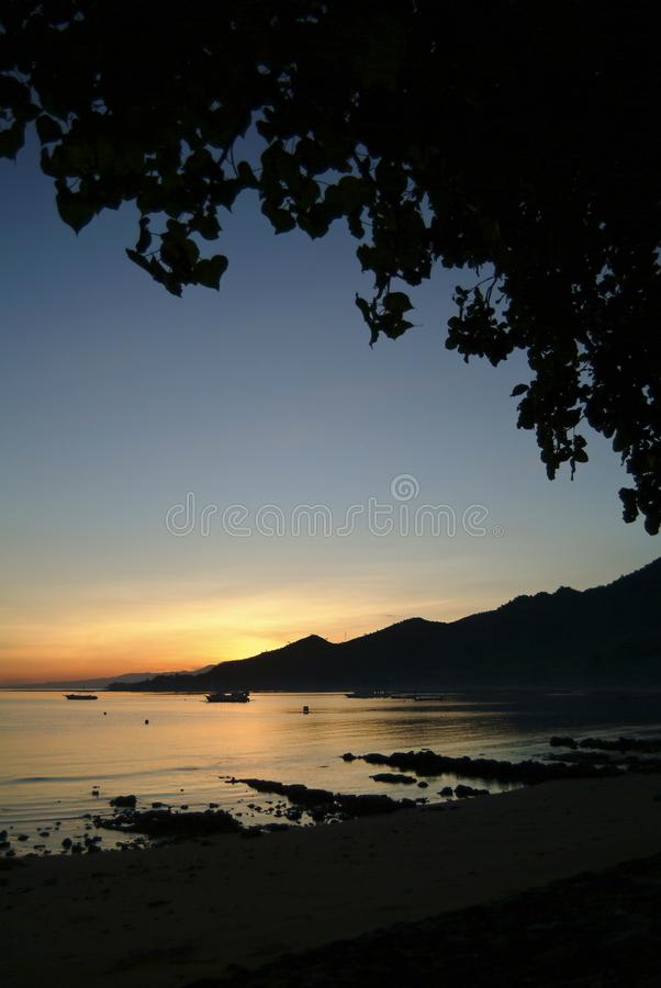 Tropical Sunrise in the Village of Pemuteran, Bali, Indonesia. royalty free stock photo