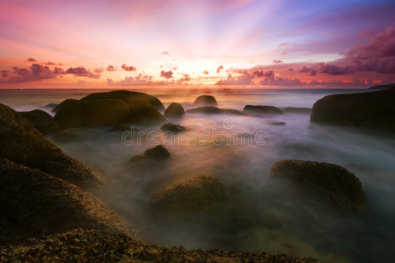 Download Tropical sunset stock photo. Image of light, dusk, cloudy - 9405304