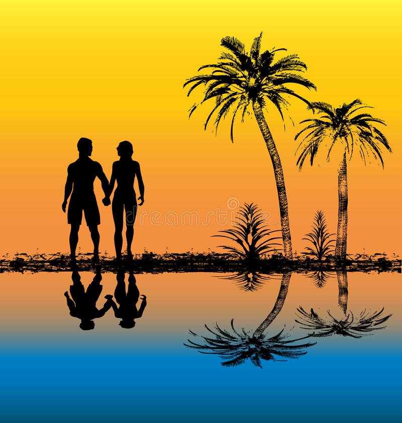 Tropical Sunset. Background illustration of a tropical beach sunset royalty free illustration