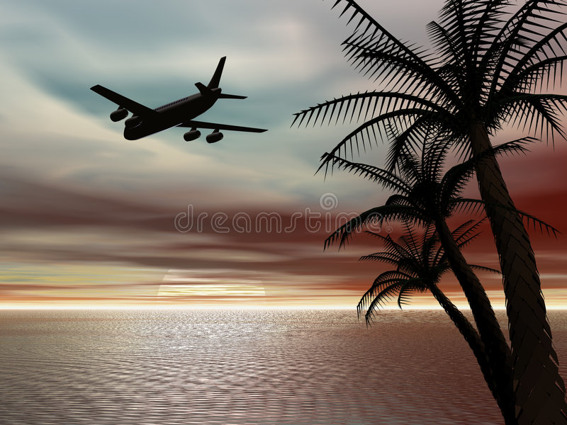 Tropical sunset with airplane. royalty free illustration
