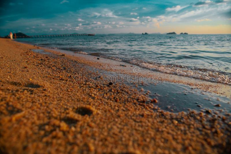 Tropical sunset beach. Beautiful background royalty free stock image